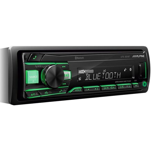 FLAC/MP3/WMA/AAC/iPod/, USB-ресивер, FM-тюнер, Bluetooth - Alpine UTE-200BT